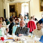 10-5-16….. President hosts afternoon Tea Party for Community and active retirement groups in Aras An Uachtarain ..  Pic shows president Higgins as he joins in the fun at a Tea party reception for retirement and community groups with on left Rita Fagan and on right her mum from the Margaret Marrowbowlane tenants association.   Pic Maxwell's - No Reproo Fee   10-5-16
